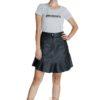 leather flared mini skirt